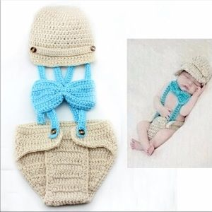 Brand New Knit Baby Suspender Photo Prop Costume